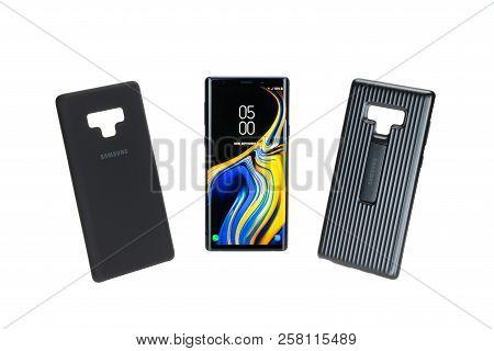 Bangkok, Thailand - Sep 12, 2018: Studio Shot Of New Samsung Galaxy Note 9 Smartphone With Protectiv