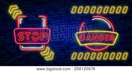 Danger Neon Text Vector. Danger Neon Sign, Design Template, Modern Trend Design, Night Neon Signboar