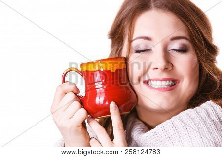 Woman Wearing Warm Clothing Grey Sweater Holding Nice Red Mug Of Warm Beverage Tea Or Coffee, Isolat