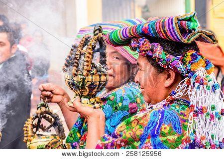 Parramos, Guatemala - December 29, 2016: Local Indigenous Women Dressed In Ceremonial Headdresses &