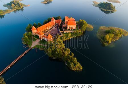 Trakai Castle, Lithuania. Trakai Castle View From Above. Beautiful Historic Castle On Island In The
