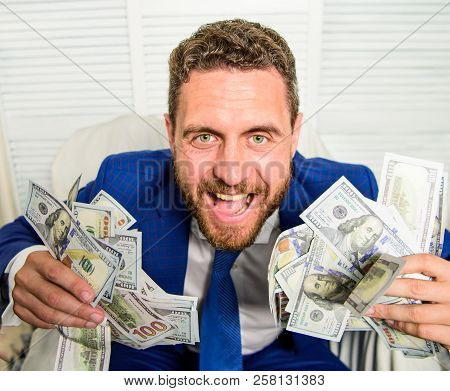 Businessman Formal Suit Hold Cash Dollars Hands. Che K Out My Profit This Month. Earn Money Easy Bus