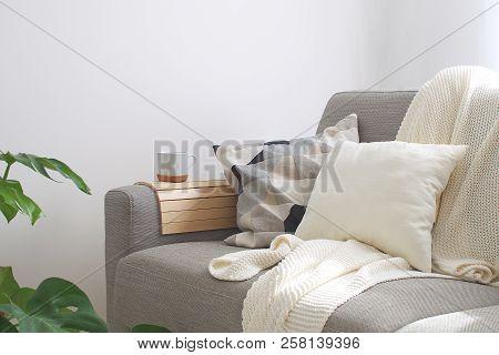 Home Interior Cozy Living Room Sofa Cushion Coffee Mug Knitted Plaid Monstera Plant Room Decor Scand