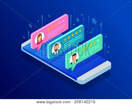Customer Reviews. Review Rating On Mobile Phone, Feedback Vector Illustration. Reading Customer Revi