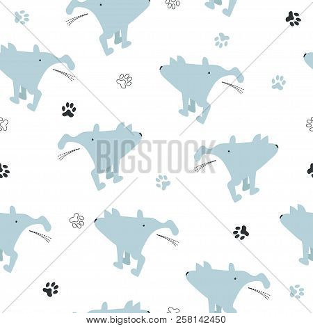 Seamless Cute Pissing Dogs Pattern. Vector Background