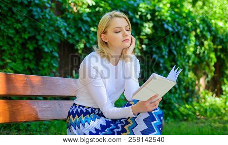 Favourite Book. Reading Literature As Hobby. Woman Blonde Take Break Relaxing In Park Reading Book.