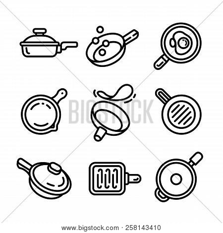 Griddle Icon Set. Outline Set Of Griddle Vector Icons For Web Design Isolated On White Background