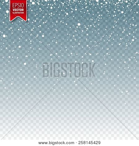 Snow With Snowflakes. Winter Blue Background For Christmas Or New Year Holidays. Falling Snow Effect