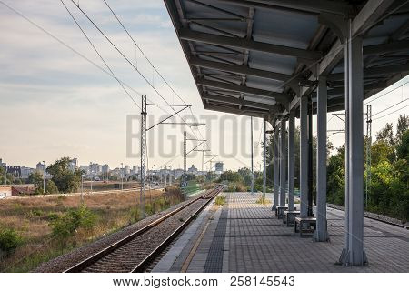 Platform Shelter In A Modern Train Station On A Suburban Electrified Line Of The Commuter Railway Ne