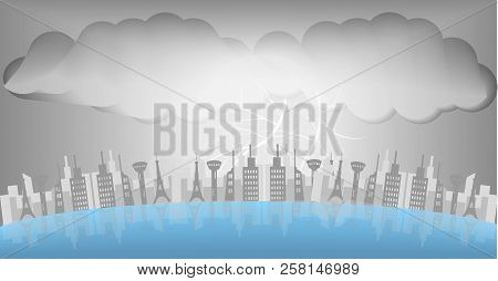 Thunder Storm,thunder Storms Over The City At Night, Caused By Storms With Black Clouds.vector Art A