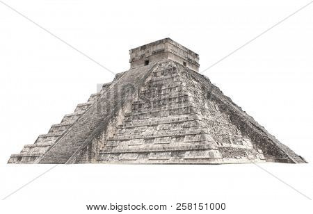 Ancient Mayan pyramid (Kukulcan Temple), Chichen Itza, Yucatan, Mexico. UNESCO world heritage site. Isolated on white background