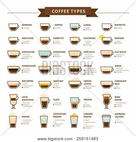 Types Of Coffee Vector Illustration. Infographic Of Coffee Types And Their Preparation. Coffee House
