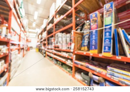 Blurry Background Gate, Fence, Building Material At Hardware Store In Usa