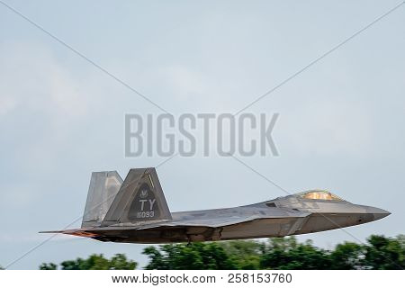 Oshkosh, Wi - 28 July 2018:  A F-22 Taking Off Or Landing At An Airshow.