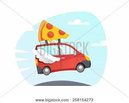 Vector Red Delivery Truck With Wings Flying Over The Road. Fast Delivery Pizza. Red Car. Van Cartoon
