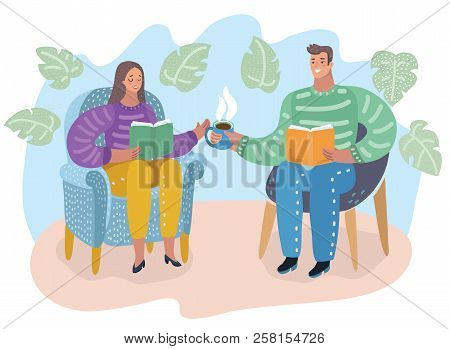 Vector Cartoon Illustration Of Man And Woman Sitting In Chair, Reading Books And Drink Tea, People I