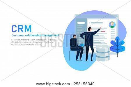 Crm. Customer Relationship Management Concept. Businessman Looking Into Database Application Screen.
