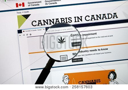 Montreal, Canada - September 13, 2018: Official Web Page On Government Of Canada Site About Cannabis