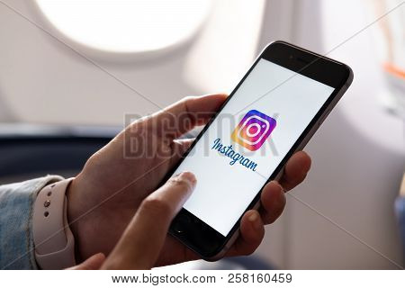 Chiang Mai, Thailand - July 6 2018: Woman Hand Holding Iphone With Logo Of Instagram Application. In