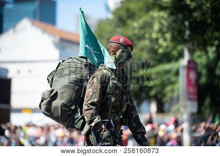 Rio De Janeiro, Brazil - September 07, 2018:  Military Civic Parade Celebrating The Independence Of
