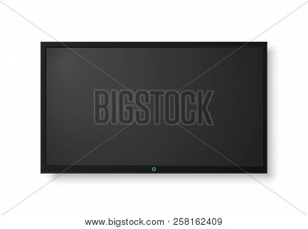 Modern Tv Screen.display Wide Tv, Digital Realistic Black Screen Illustration. 4k Tv Screen Vector.