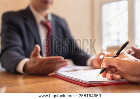 Co-investment Business Signing Agreement After Successful Deal. Business Contract And Meeting And Gr
