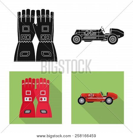 Vector Illustration Of Car And Rally Sign. Collection Of Car And Race Vector Icon For Stock.