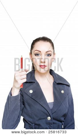 Young Business Woman Gesturing Bull Stock Market