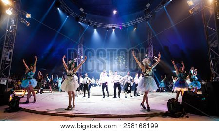 Bontida, Romania - July 20, 2018: Artistic performance in the circus  at Electric Castle festival.