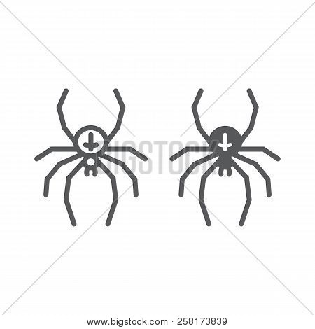 Spider Line And Glyph Icon, Animal And Arachnid, Halloween Sign, Vector Graphics, A Linear Pattern O