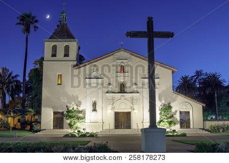Santa Clara, California - September 13, 2018: Exterior Of Church Of Mission Santa Clara De Asis. The