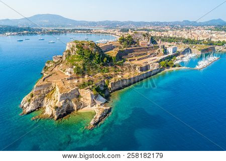 Hellenic Temple And Old Castle At Corfu, Ionian Islands, Greece