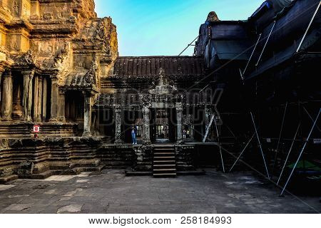 Siemreap/cambodia - February 03 2016:inside Of Ankor Wat Temple Siem Reap Cambodia,wonder Of The Wor