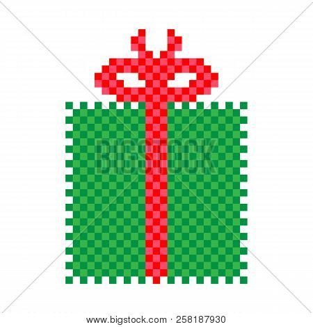 Gift Box Icon. 8 Bit Game Style. Vector.