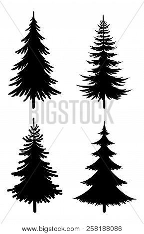 Christmas Fir Trees Set, Black Silhouette Pictograms Isolated On White Background, Winter Holiday Sy