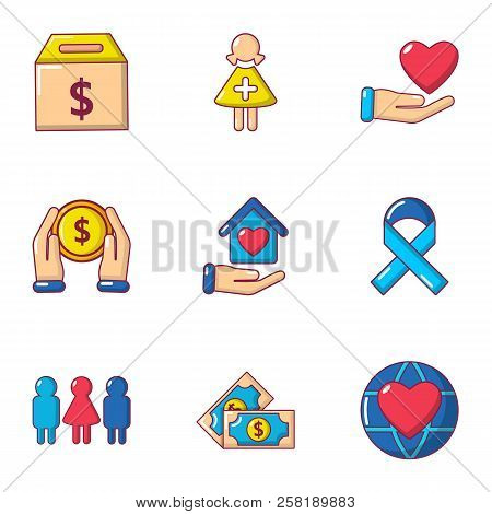 Infusion of donation icons set. Cartoon set of 9 infusion of donation vector icons for web isolated on white background poster