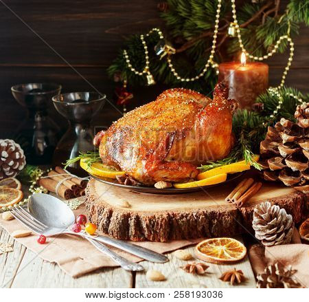 Baked Turkey For Christmas Dinner Or New Year Space For Text