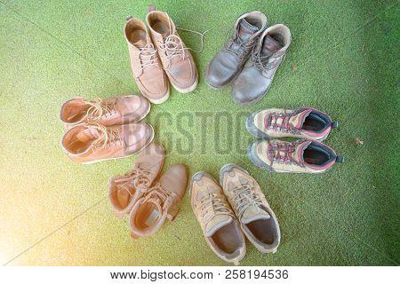 Hiking Shoes, Climber Team,teamwork Concept, Hiking Boots.