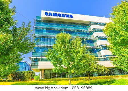 Mountain View, United States - August 13, 2018: Samsung Research America Building Campus. Sra Is A R