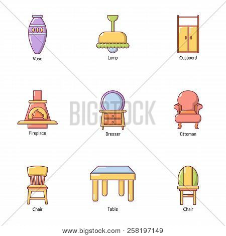 Outside The Town Icons Set. Cartoon Set Of 9 Outside The Town Vector Icons For Web Isolated On White