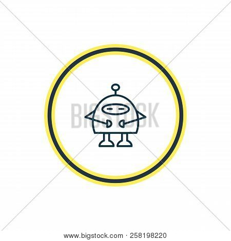 Vector Illustration Of Robots Icon Line. Beautiful Entertainment Element Also Can Be Used As Chatbot