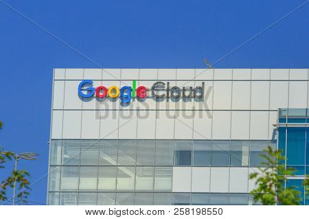 Sunnyvale, California, Usa - August 12, 2018: Google Cloud Sign On Top Of Google Building. Google Is