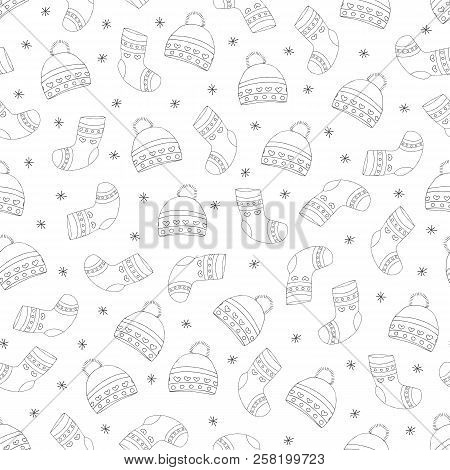 Hand-drawn Winter Hats And Socks. Hats, Socks And Snowflakes Are Black On White Background. Vector I