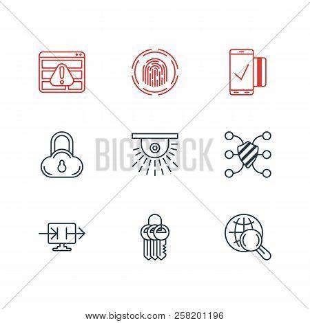 Vector Illustration Of 9 Data Icons Line Style. Editable Set Of Access Denied, Fingerprint Scanner,