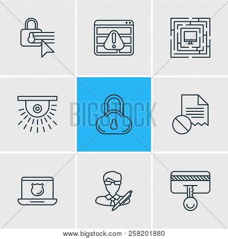 Illustration Of 9 Privacy Icons Line Style. Editable Set Of Access Denied, Cloud Data Protection, Pr