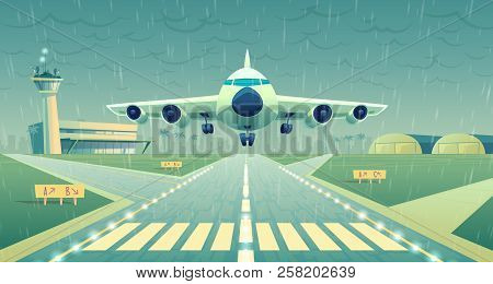 Vector Cartoon Illustration, White Airliner, Jet Over Runway. Takeoff Or Landing Of Commercial Airpl