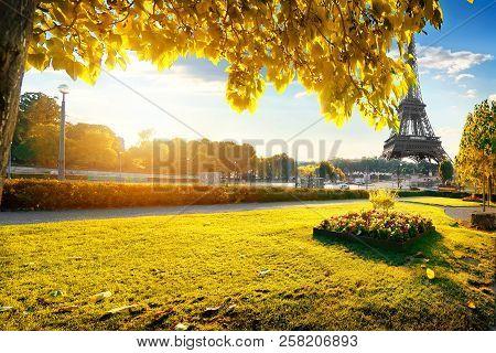 A View Of The Eiffel Tower From The Trocadero Gardens In Paris In The Autumn