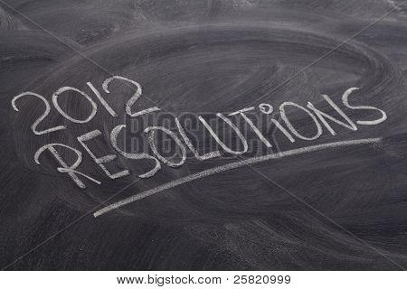 2012 resolutions - white chalk handwriting on blackboard poster