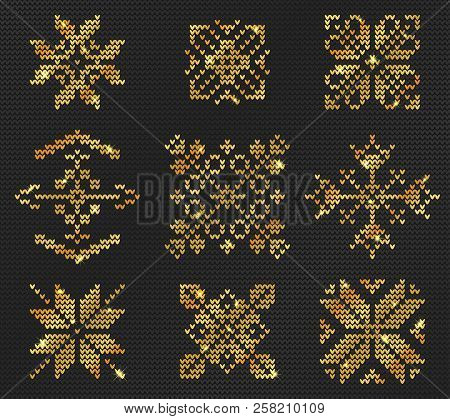 e09987f74b86 Knitted Ugly Sweater Pattern Gold Design Christmas