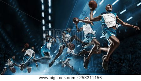 Collage. Basketball Player In Motion Or Movement On Big Professional Arena During The Game. Player M